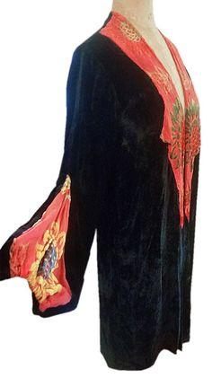 1920's Silk velvet Jacket with Graphic Floral Cut Velvet Applique. Sideway