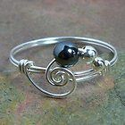 Hematite Gemstone Spiral Bead Ring in 14k Gold Filled or Sterling Silver