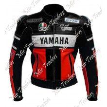 Yamaha 46 Red Black Biker Leather Jacket Men's