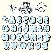 Graffiti bubble alphabet vector set by dmitriylo, via Shutterstock - Graffiti Art, Graffiti Designs, Wie Zeichnet Man Graffiti, Graffiti Alphabet Styles, Graffiti Lettering Alphabet, Graffiti Tagging, Graffiti Drawing, Hand Lettering Fonts, Grafitti Letters