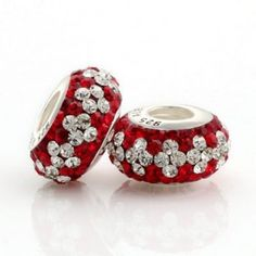 Silver White Red Match Crystal Bead