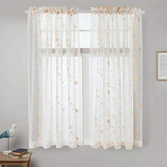 "Sheer Curtains Gold 45 Inch Length,Floral Embroidered Rod Pocket Voile Drapes for Living room, Bedroom, Window Treatments Semi Curtain Panels for Yard, Patio, Villa, Parlor, Set of 2, 52""x 45"". 