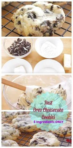These Oreo Cheesecake Cookies are an insanely easy and delicious treat! These soft and treats that will wow anyone! Yummy Treats, Delicious Desserts, Dessert Recipes, Delicious Cookies, Yummy Recipes, Baking Recipes, Soft Chocolate Chip Cookies, Dark Chocolate Cakes, Raisin Cookies