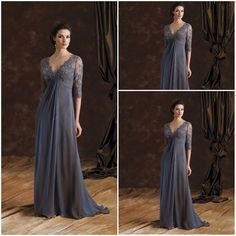 On sale!! Free Shipping 2013 New Modest chiffon and lace Plus size mother of the bride groom dresses with sleeves 29980