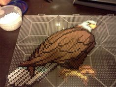 Bald Eagle hama perler beads. Amazing! That would take forever.