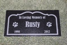 Sandblast Engraved Granite Pet Memorial Headstone Grave Marker Dog Cat brdr 6 inches x 12 inches * Discover this special dog product, click the image : Dog Memorials