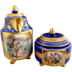 RS Prussia portrait tea set Royal Vienna mark book piece 19th Century