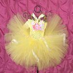 Spring Lemon Paisley Baby Crochet Tutu Dress - 3160