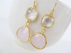Pink and crystal earrings in gold Pink glass drop by 53Countesses