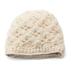 This women's SIJJL beanie offers incredible style with its crocheted knit design. In ivory. Crochet Baby Cardigan Free Pattern, Beanie Knitting Patterns Free, Newborn Crochet Patterns, Crochet Baby Beanie, Knitting Designs, Crochet Hats, Knit Beanie, Crochet Dolls, Beanie Hats