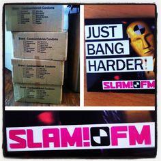 Onze Condoomfabriek Condooms zijn aangekomen bij SLAM!FM. Je kunt weer veilig naar SLAM!FM luisteren. ;-)