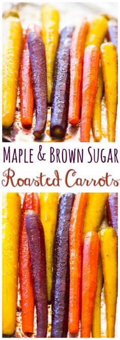 These roasted, glazed, sweet carrots can be prepped in 5 minutes, and ready in under 30! This Baked Carrots Recipe with Maple and Brown Sugar is such an incredibly simple side dish, and easy to love.