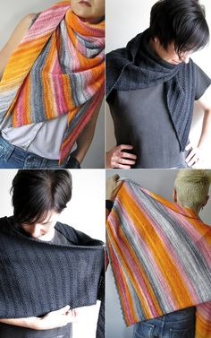 (Photos: Charcoal version - mustaavillaa, Colourful version - 1funkyknitwhit) This slightly asymmetricaltriangle shawl by maanel is gorgeous in its simplicity. The straightforward structure and mi...