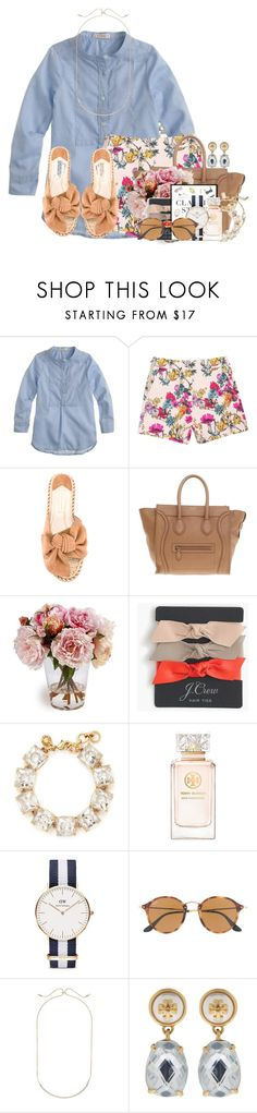 """""""My brother just got baptized RTD """" by flroasburn ❤ liked on Polyvore featuring J.Crew, Paloma Barceló, CÉLINE, Kate Spade, Tory Burch, Daniel Wellington, Ray-Ban and Kendra Scott"""