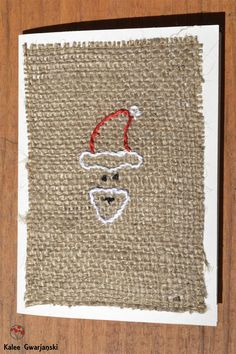 Christmas Greeting Card Santa on Burlap 4 x 5.5 by KaleeGwarjanski, $5.00  #christmascard #santa #rusticchristmas