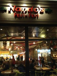 Nando's Peri-Peri.  I love this place for its hot chicken.  Somewhere between fast food in a hip setting and something a bit more with sangria, South African wine and beer.  Self-described as Portugese/South African--the former having discovered the chili peri peri when they landed in East Africa.  Great cheicken (though smallish), salads, wraps  Recommend for lunch or a casual mid-week dinner.