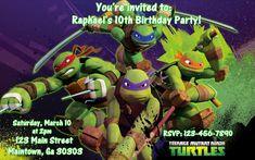 Teenage Mutant Ninja Turtles birthday invitations by Toppers4Cake, $25.00