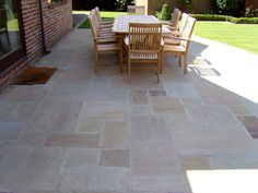 Indian sandstone laid in random sizes. What great colours.