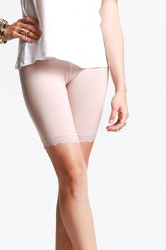 80's Purple : gentle fawn - coco legging short with lace hem (blush) - $28.00 - Short leggings are great under short skirts! ^^