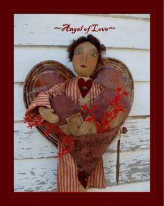 primitive valentine's angel doll