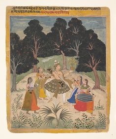 Vasant (Spring) Ragini: e. 17th C. female musicians accompany a nobleman evoking Krishna's raslila dance with the gopis. Amber, Rajasthan, India