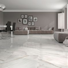 Stylish white gloss marble effect floor tiles at trade prices from Direct Tile Warehouse. See quality large floor tiles including large white floor tiles Living Room Flooring, Bedroom Flooring, Tiles For Living Room, Living Rooms, Kitchen Living, Bedroom Floor Tiles, Living Spaces, Big Kitchen, Green Kitchen