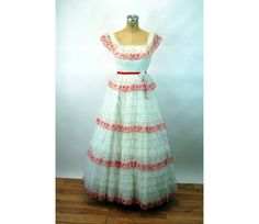 1960s formal dress prom dress red white cupcake by vintagerunway