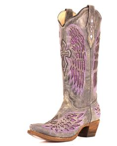 Women's Distressed Black Winged Cross Purple Inlay Boot - A1969