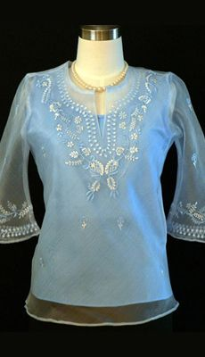 Barongsrus-Baby Blue Women's Barong #5064