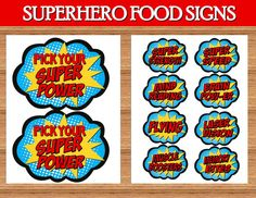 SUPERHERO Birthday Party -FOOD Labels - Superhero - Superheroes - Superman - Wonder Woman - Spiderman - Boy Birthday - INSTANT Download