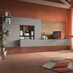 Plan 06 wall system with open boxes and wall panel; it includes a shelf, partitions and wall cabinets with drop down push-pull opening. Melamine Wood, Melamine Cabinets, Living Room Tv Unit, Living Room Furniture, Furniture Sets, Features Of Planning, Particle Wood, Tv Panel, Empty Spaces
