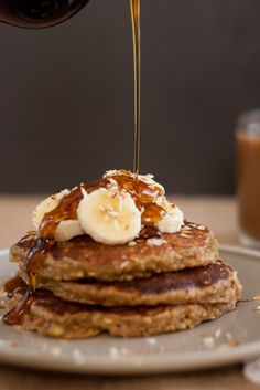 banana oat pancakes- gluten free. I used a gluten free flour blend and chia seeds instead of eggs. Also used clementine juice instead of lemon juice and finally thinned it with homemade soy yogurt. The rose nice and fluffy.