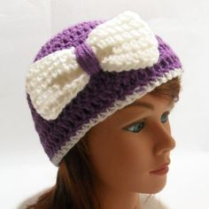 Crochet Bow Beanie Hat in Purple with a White by AddSomeStitches