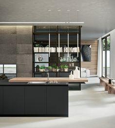 Moderne Küche Kochinsel Esstheke Holz Asymmetrische Linien