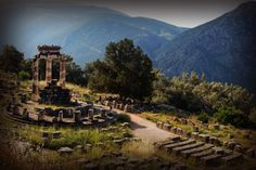 These are the ancient ruins of the Sanctuary of Athena in Delphi, Greece. Ancient Ruins, Ancient Greece, Places Ive Been, Places To Go, Athens Greece, Abandoned Mansions, Delphi Greece, Dolores Park, Beautiful Places