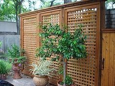 Privacy screen and porch skirting option. note: square lattice and trim work