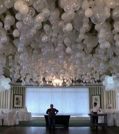 This is great if you have a venue with a tall ceiling. LED light can hang from each balloon to add a special effect. . Visit web link in Bio for more ideas and contact info. . . #balloons #balloonart #balloondecoration #balloonsculpture #keighley #westyorkshire #northyorkshire #steeton #skipton #silsden #wedding #venue #ledlights
