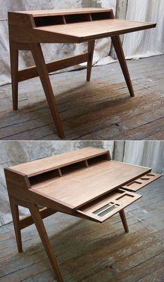 walnut desk by Phloem::: The back cross brace is visually heavy and awkward, but the tapering sides, letter pockets, and interesting drawers add a lot of interest.