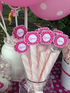 Pink polka dot marshmallow personalized tags