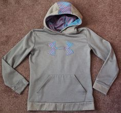 Girl's UNDER ARMOUR Storm Loose Gray & Pink Blue Striped Sweatshirt Hoodie…