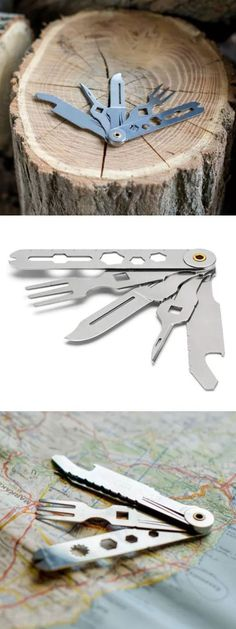Crono 5 - The perfect camping multitool. Includes a fork, knife, fish scaler, wrench, wire stripper and more.