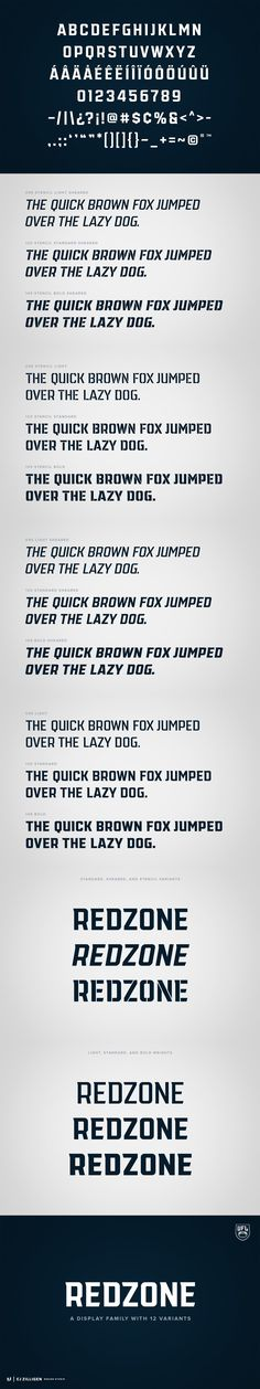 """""""Redzone"""" is a versatile display family developed as the workhorse typeface for the """"Ultimate Football League"""", a fictional football league passion project. Draw Logo, Professional Fonts, Passion Project, Sports Brands, Logo Templates, Things To Think About, Branding, Display, Thoughts"""
