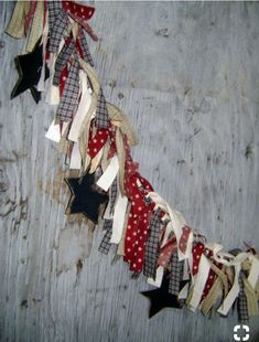 Patriotic Fabric Rag Garland with wood Stars Raggy Banner Burgundy Navy Cream Prim Rustic rag banner. Americana Crafts, Patriotic Crafts, July Crafts, Primitive Crafts, Summer Crafts, Holiday Crafts, Christmas Diy, Fourth Of July Decor, 4th Of July Decorations