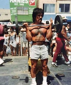 Celebs Discover Danny Trejo working out at Muscle Beach 1995
