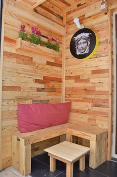 wall, armchair, table and accessories made with upcycled wood