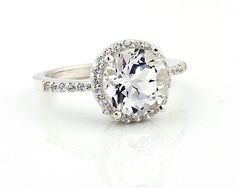 Natural AAA White Topaz  Solid 14K White Gold Diamond engagement Ring