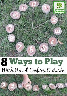 8 easy ideas to introduce play based activities into children's outdoor experiences using wooden cookies, nature and simple DIY resources. Fantastic ideas here for early childhood teachers, educators and homeschool!