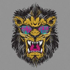 "Syndicate ""Riot Lion"" Tee Art by Evan Eckard, via Behance"
