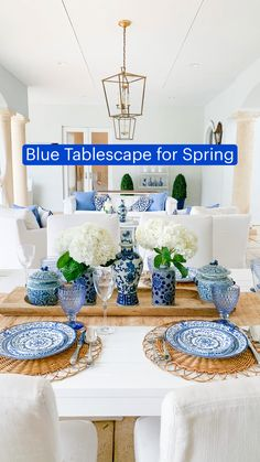 Dining Room Blue, Dining Room Table Decor, Dining Room Design, Farmhouse Dining Room Table, Room Decor, Blue And White Living Room, White Kitchen Decor, Bar Kitchen, Blue Home Decor