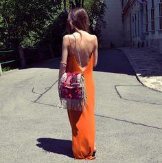 ba-sh:  orange dress  Boho Fringed Bag